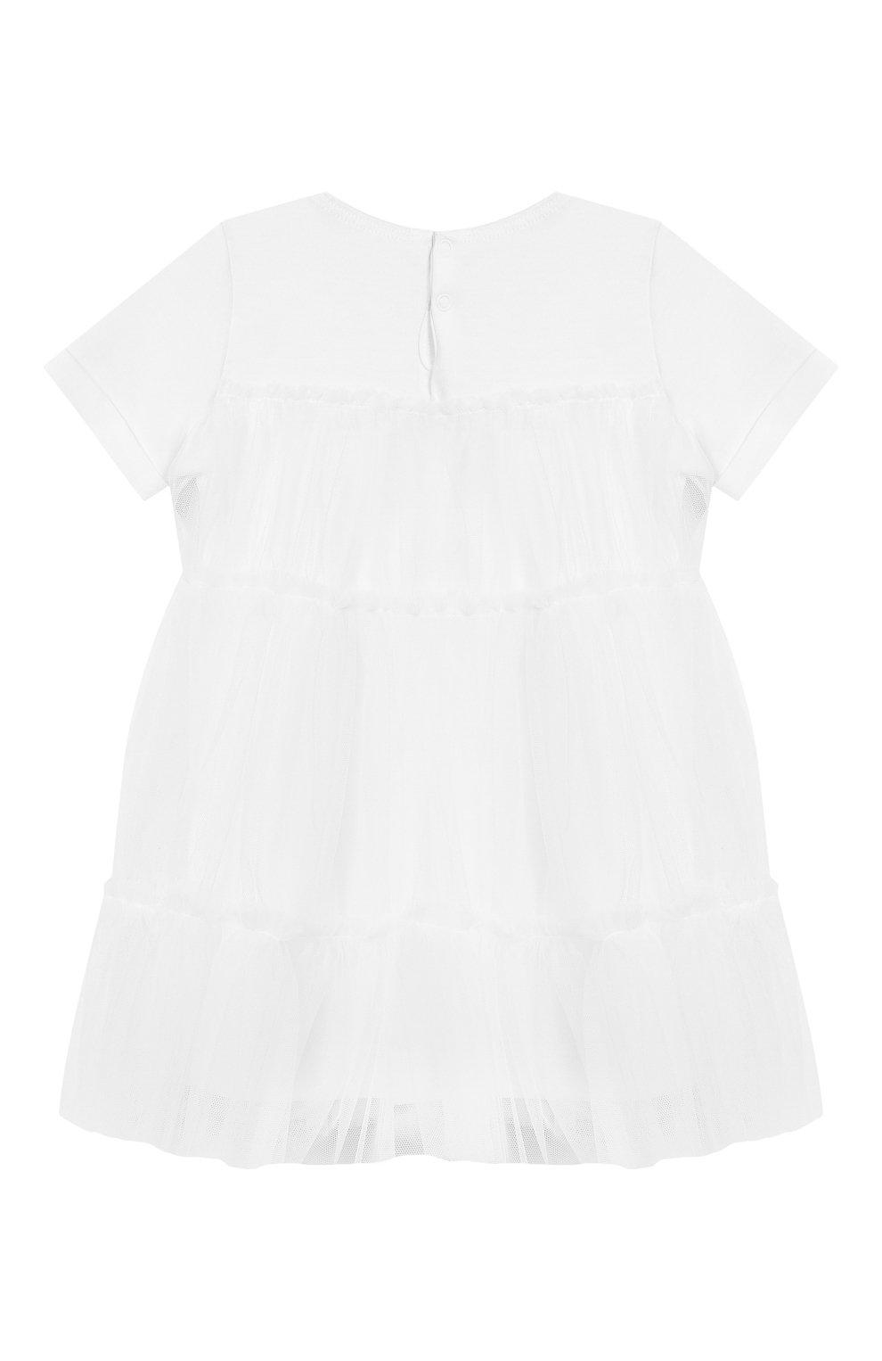 Женский хлопковое платье IL GUFO белого цвета, арт. P19VM483H0018/3M-9M | Фото 2