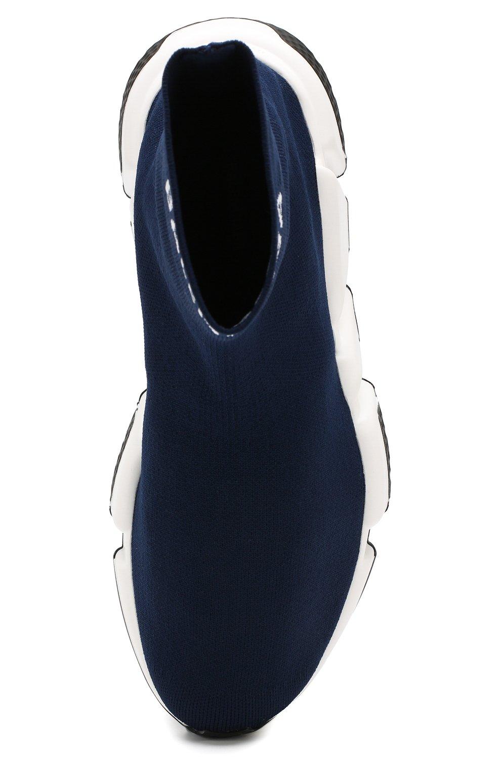 Текстильные кроссовки Speed Balenciaga синие | Фото №5