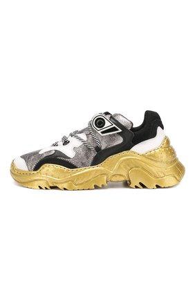 Кожаные кроссовки Billy No. 21 серебряные | Фото №3