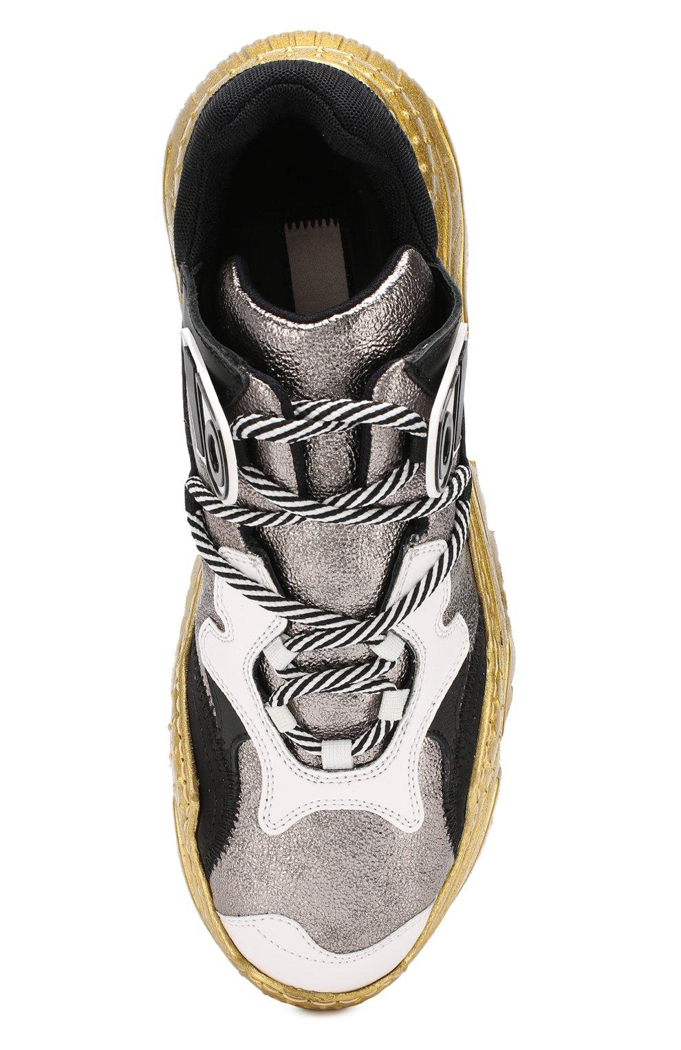 Кожаные кроссовки Billy No. 21 серебряные | Фото №5