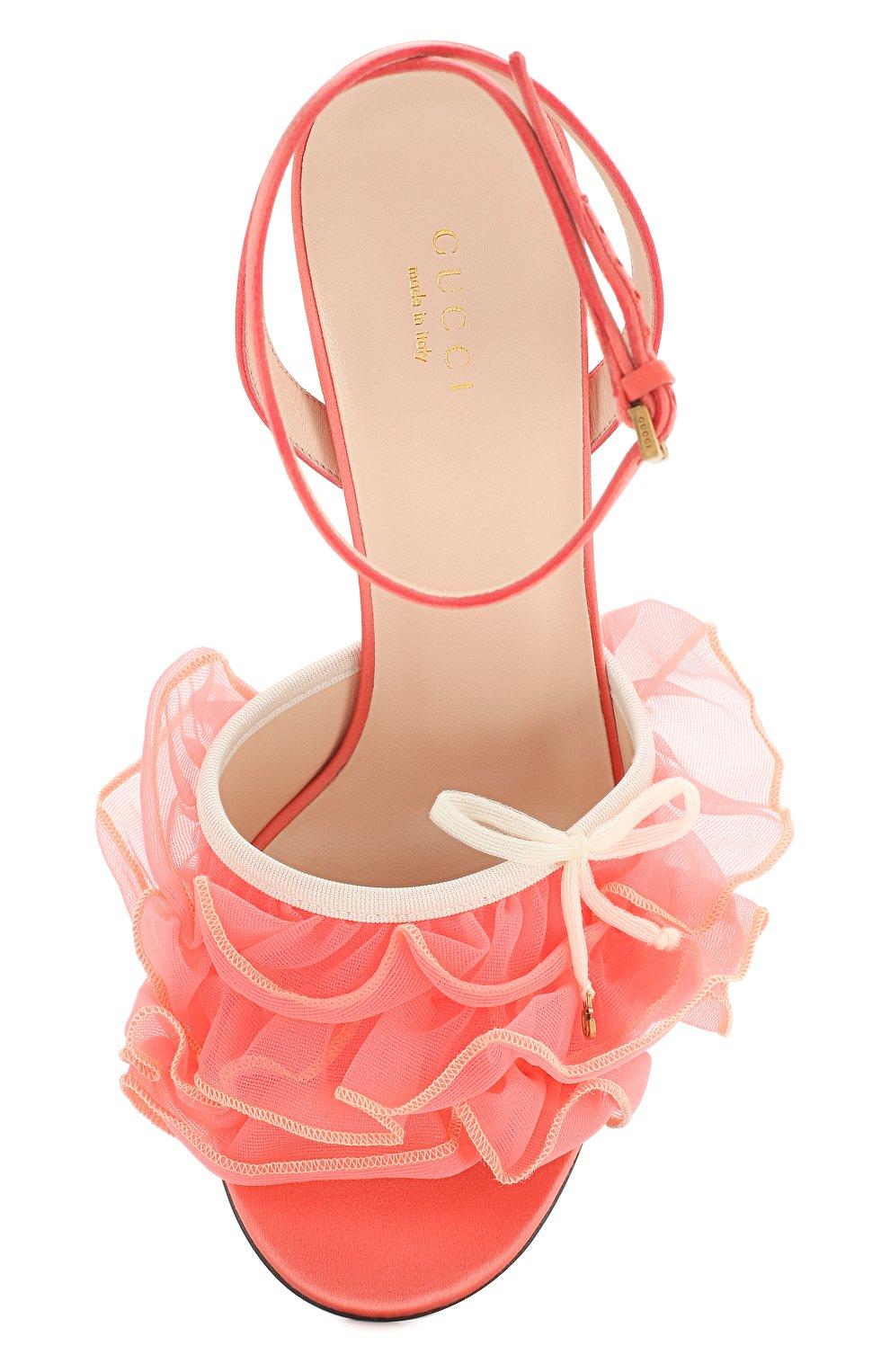 Текстильные босоножки Gucci розовые | Фото №5