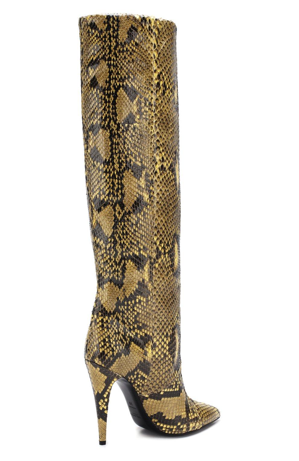 Сапоги Abbey из кожи питона Saint Laurent золотые | Фото №4