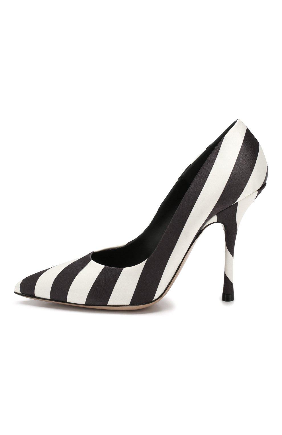 Текстильные туфли Dries Van Noten черно-белые | Фото №3