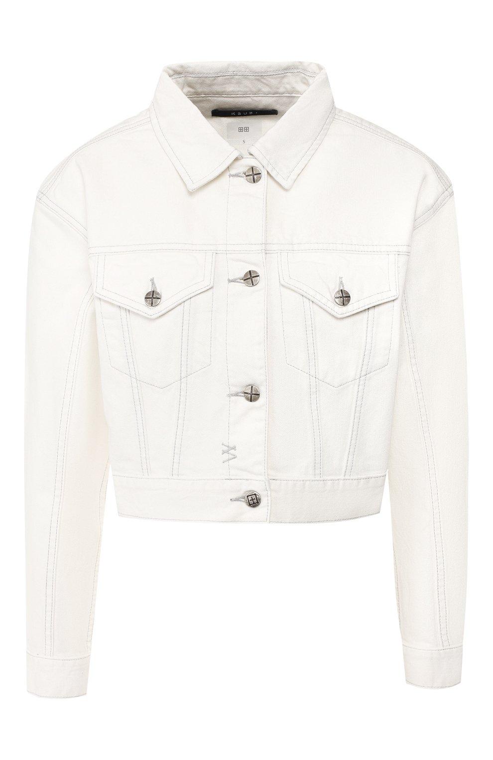 Женская джинсовая куртка KSUBI белого цвета, арт. 5000003492 | Фото 1 (Кросс-КТ: Куртка; Рукава: Длинные; Материал внешний: Хлопок, Деним; Статус проверки: Проверено; Длина (верхняя одежда): Короткие)