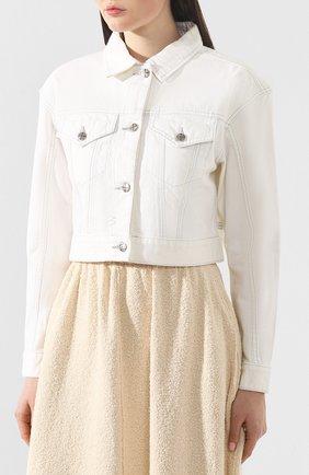 Женская джинсовая куртка KSUBI белого цвета, арт. 5000003492 | Фото 3 (Кросс-КТ: Куртка; Рукава: Длинные; Материал внешний: Хлопок, Деним; Статус проверки: Проверено; Длина (верхняя одежда): Короткие)