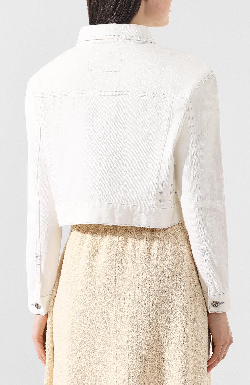 Женская джинсовая куртка KSUBI белого цвета, арт. 5000003492 | Фото 4 (Кросс-КТ: Куртка; Рукава: Длинные; Материал внешний: Хлопок, Деним; Статус проверки: Проверено; Длина (верхняя одежда): Короткие)