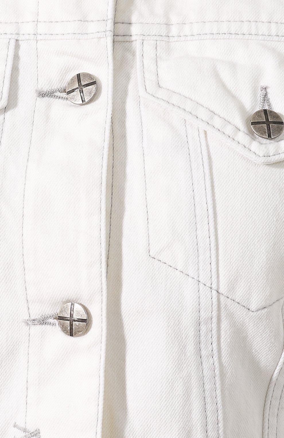 Женская джинсовая куртка KSUBI белого цвета, арт. 5000003492 | Фото 5 (Кросс-КТ: Куртка; Рукава: Длинные; Материал внешний: Хлопок, Деним; Статус проверки: Проверено; Длина (верхняя одежда): Короткие)