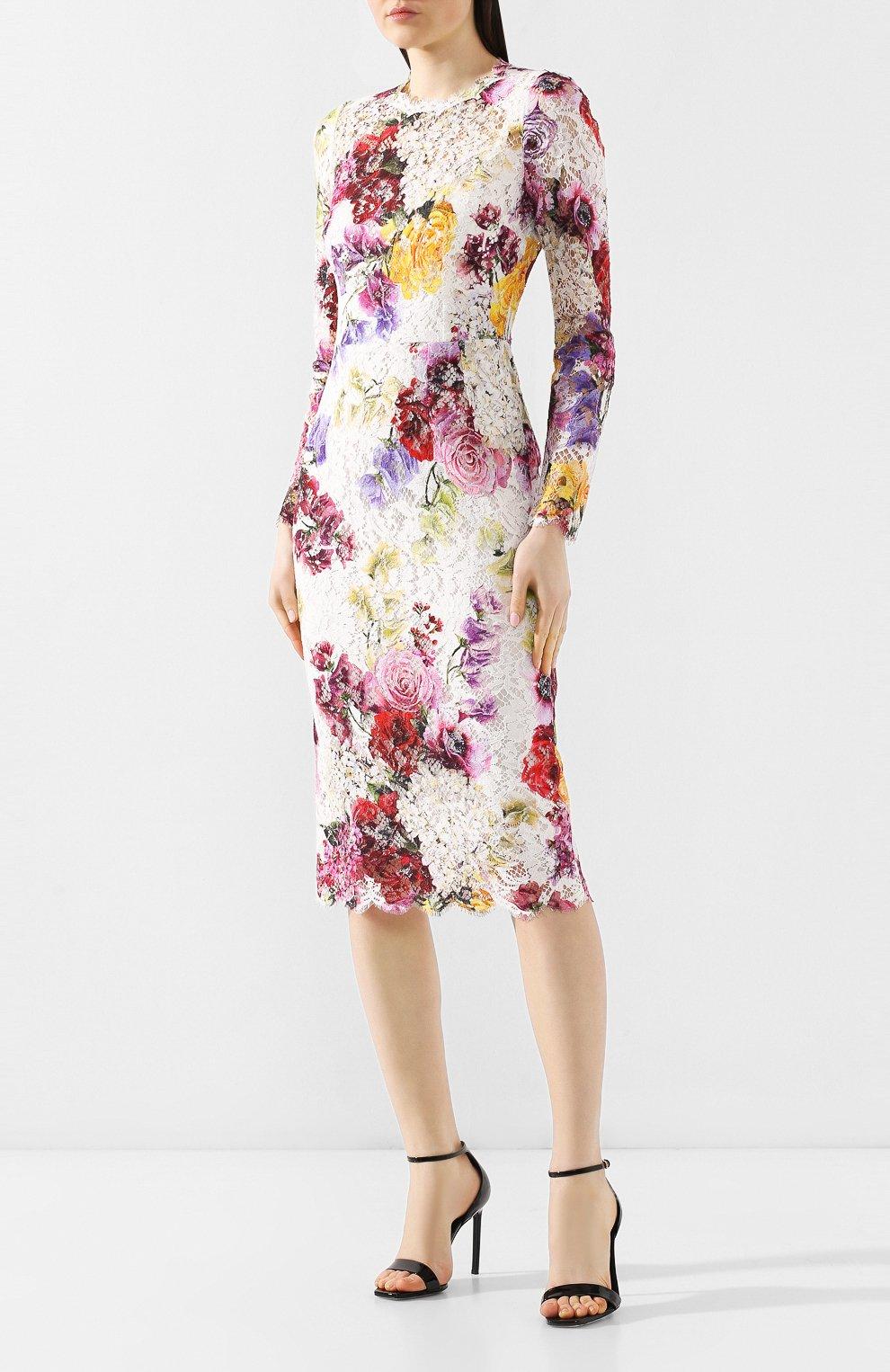 Кружевное платье Dolce & Gabbana разноцветное   Фото №3