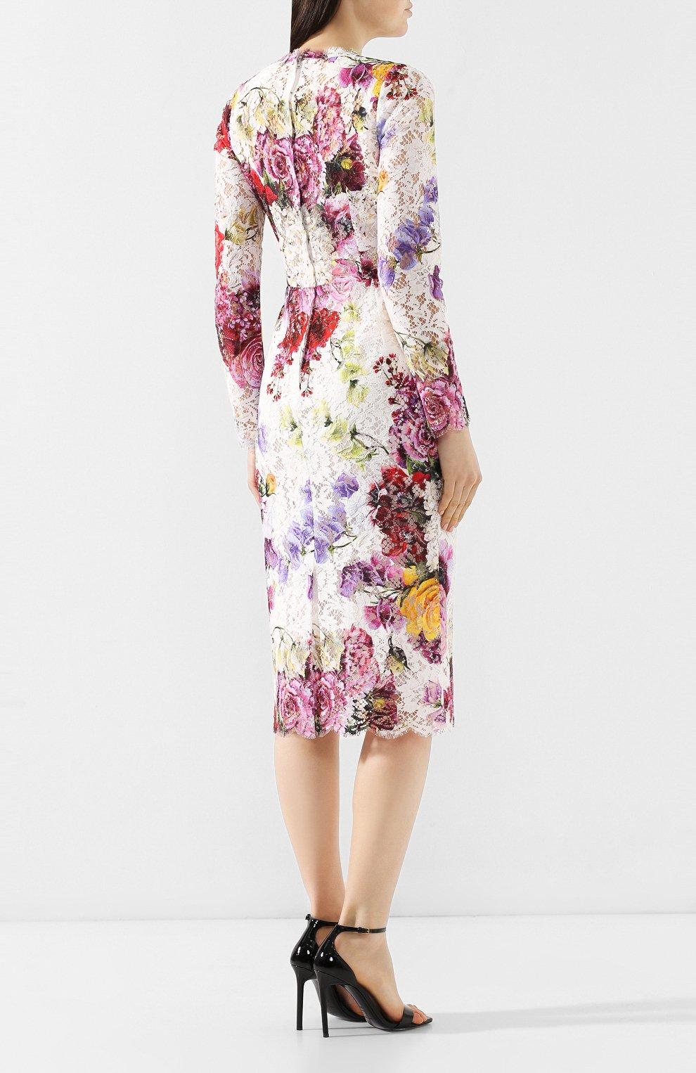 Кружевное платье Dolce & Gabbana разноцветное   Фото №4