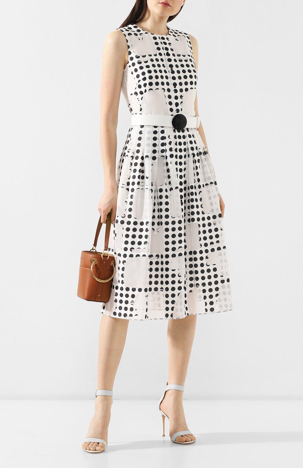 Платье с поясом Akris Punto черно-белое | Фото №2