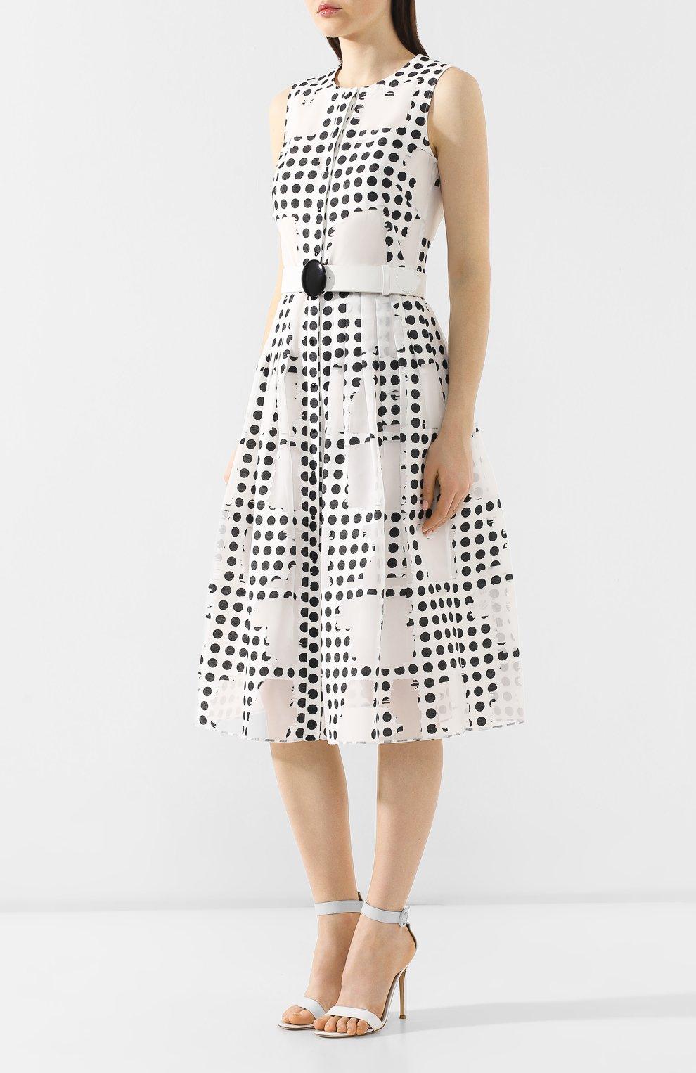 Платье с поясом Akris Punto черно-белое | Фото №3