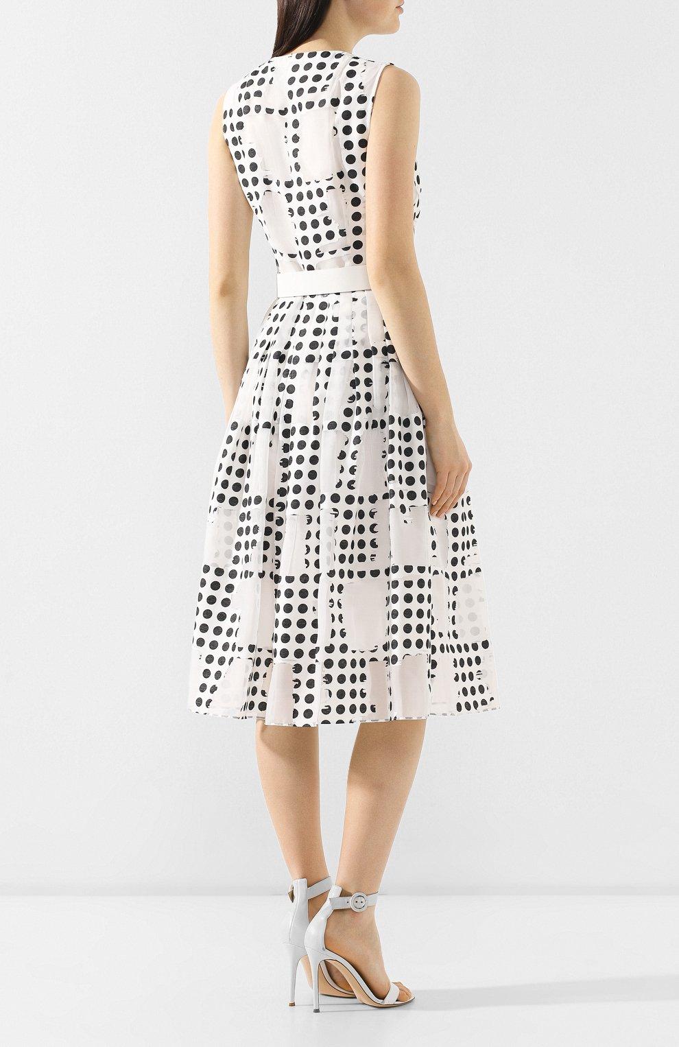 Платье с поясом Akris Punto черно-белое | Фото №4
