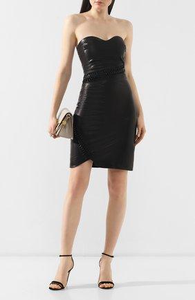 Женское кожаное платье PHILIPP PLEIN черного цвета, арт. P19C WLG0035 PLE010N | Фото 2