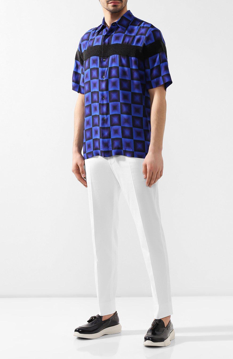 Мужские кожаные слиперы GIORGIO ARMANI темно-синего цвета, арт. X2X094/XF294 | Фото 2