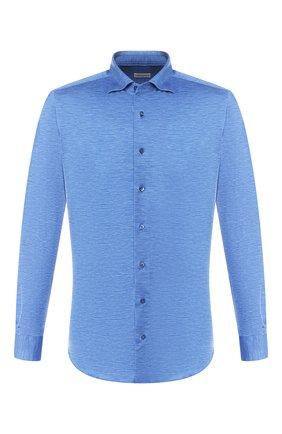 Мужская хлопковая рубашка ZILLI синего цвета, арт. MFR-56014-MERCU/RJ02/BUTT0NS | Фото 1
