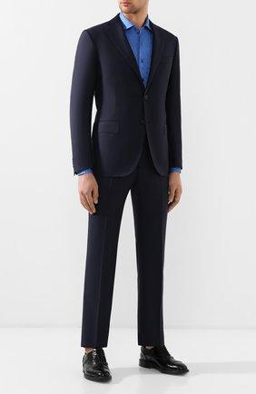 Мужская хлопковая рубашка ZILLI синего цвета, арт. MFR-56014-MERCU/RJ02/BUTT0NS | Фото 2