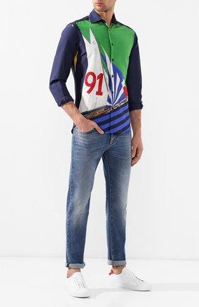 Мужская рубашка из смеси шелка и хлопка RALPH LAUREN разноцветного цвета, арт. 790741369 | Фото 2