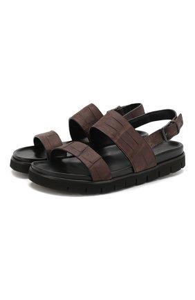 Мужские сандалии из кожи аллигатора DAMI темно-коричневого цвета, арт. 3688/ALLIGAT0R/AMIS | Фото 1