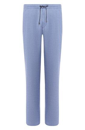 Мужской брюки из смеси шерсти и шелка BRIONI голубого цвета, арт. RPMJ0P/P6A1X/NEWJAMAICA   Фото 1