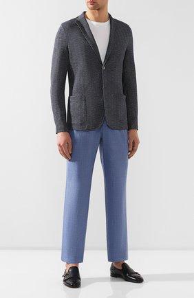 Мужской брюки из смеси шерсти и шелка BRIONI голубого цвета, арт. RPMJ0P/P6A1X/NEWJAMAICA   Фото 2