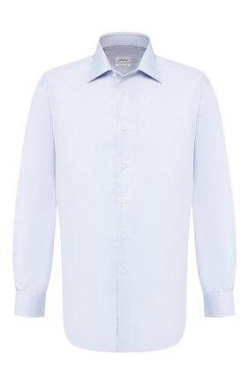 Мужская хлопковая сорочка с воротником кент BRIONI голубого цвета, арт. RCLU1Z/PZ063 | Фото 1