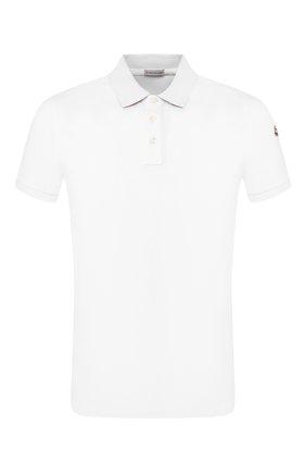Мужское хлопковое поло MONCLER белого цвета, арт. E1-091-83051-50-84556 | Фото 1