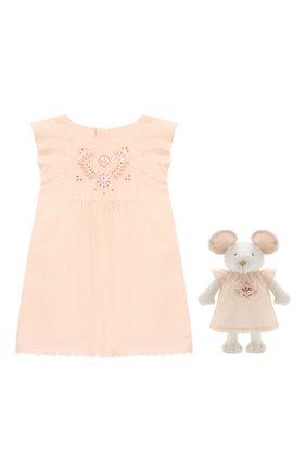 Комплект из хлопкового платья и игрушки | Фото №1