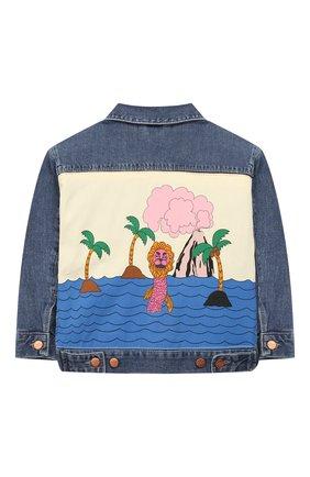 Детского джинсовая куртка MINI RODINI синего цвета, арт. 1921011060 | Фото 2
