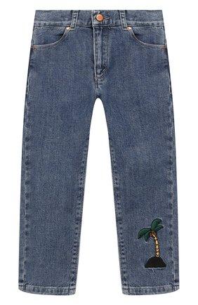 Детские джинсы прямого кроя MINI RODINI синего цвета, арт. 1923011260 | Фото 1