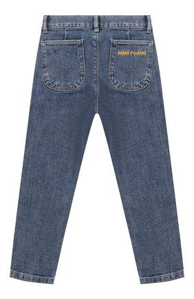 Детские джинсы прямого кроя MINI RODINI синего цвета, арт. 1923011260 | Фото 2