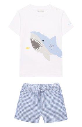 Детский комплект из хлопковой футболки и шорт IL GUFO голубого цвета, арт. P19DP285C3106/3M-9M | Фото 1