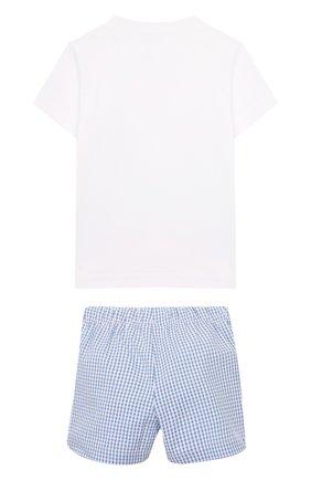 Детский комплект из хлопковой футболки и шорт IL GUFO голубого цвета, арт. P19DP285C3106/3M-9M | Фото 2