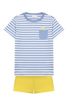 Детский комплект из хлопковой футболки и шорт IL GUFO желтого цвета, арт. P19DP289M1067/24M | Фото 1