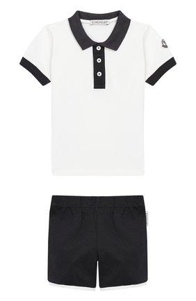 Детский комплект из хлопковой футболки и шорт MONCLER ENFANT белого цвета, арт. E1-951-88123-50-8496F | Фото 1