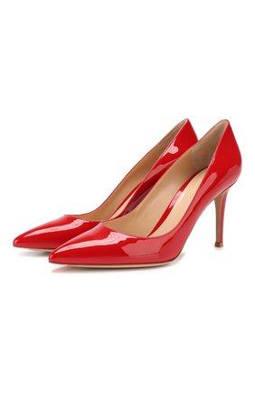 Женские кожаные туфли gianvito 85 GIANVITO ROSSI красного цвета, арт. G24580.85RIC.VER   Фото 1 (Каблук высота: Высокий; Каблук тип: Шпилька; Статус проверки: Проверено, Проверена категория; Подошва: Плоская)