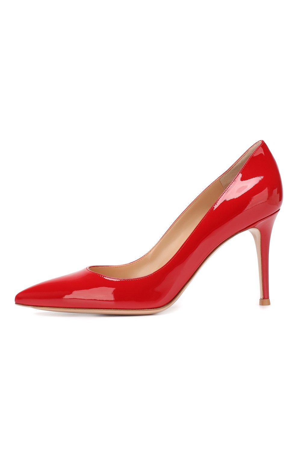 Женские кожаные туфли gianvito 85 GIANVITO ROSSI красного цвета, арт. G24580.85RIC.VER   Фото 3 (Каблук высота: Высокий; Каблук тип: Шпилька; Статус проверки: Проверено, Проверена категория; Подошва: Плоская)