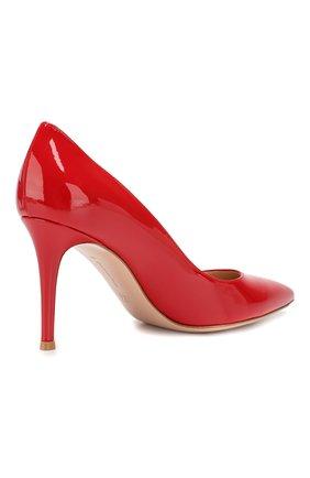 Женские кожаные туфли gianvito 85 GIANVITO ROSSI красного цвета, арт. G24580.85RIC.VER   Фото 4 (Каблук высота: Высокий; Каблук тип: Шпилька; Статус проверки: Проверено, Проверена категория; Подошва: Плоская)