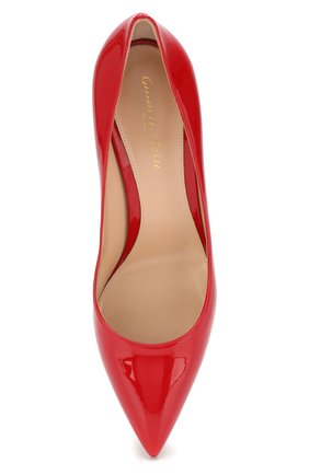 Женские кожаные туфли gianvito 85 GIANVITO ROSSI красного цвета, арт. G24580.85RIC.VER   Фото 5 (Каблук высота: Высокий; Каблук тип: Шпилька; Статус проверки: Проверено, Проверена категория; Подошва: Плоская)