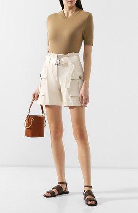 Женские кожаные сандалии BRUNELLO CUCINELLI коричневого цвета, арт. MZSEC1449 | Фото 2