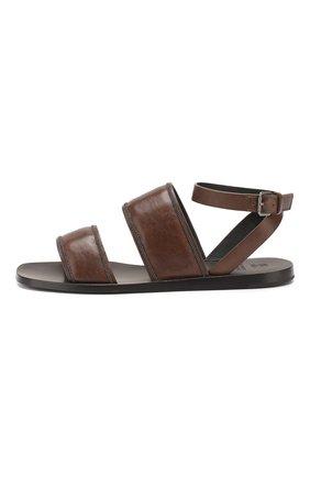Кожаные сандалии Brunello Cucinelli коричневые   Фото №3