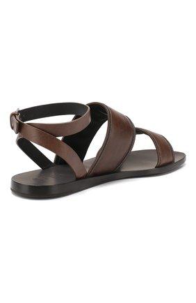 Кожаные сандалии Brunello Cucinelli коричневые   Фото №4