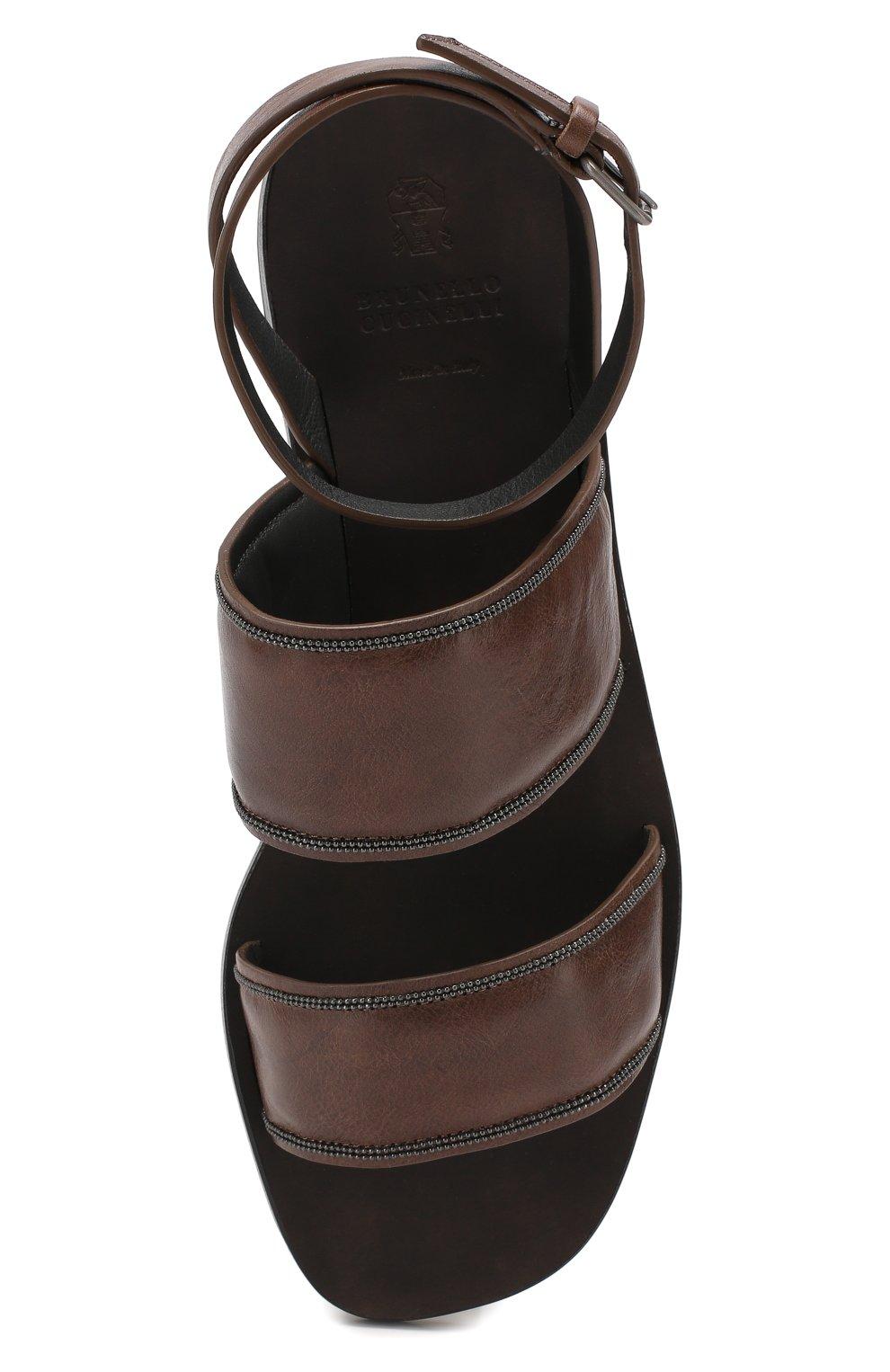Кожаные сандалии Brunello Cucinelli коричневые   Фото №5
