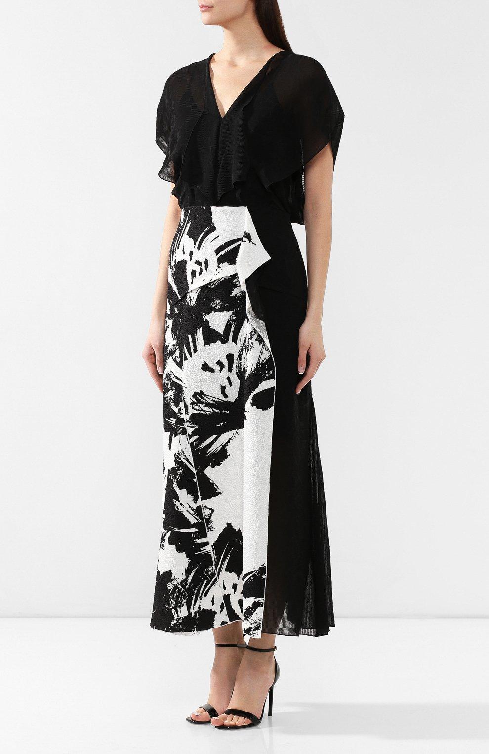 bc544a889cc6153 Женское черно-белое платье из смеси вискозы и хлопка ROLAND MOURET ...