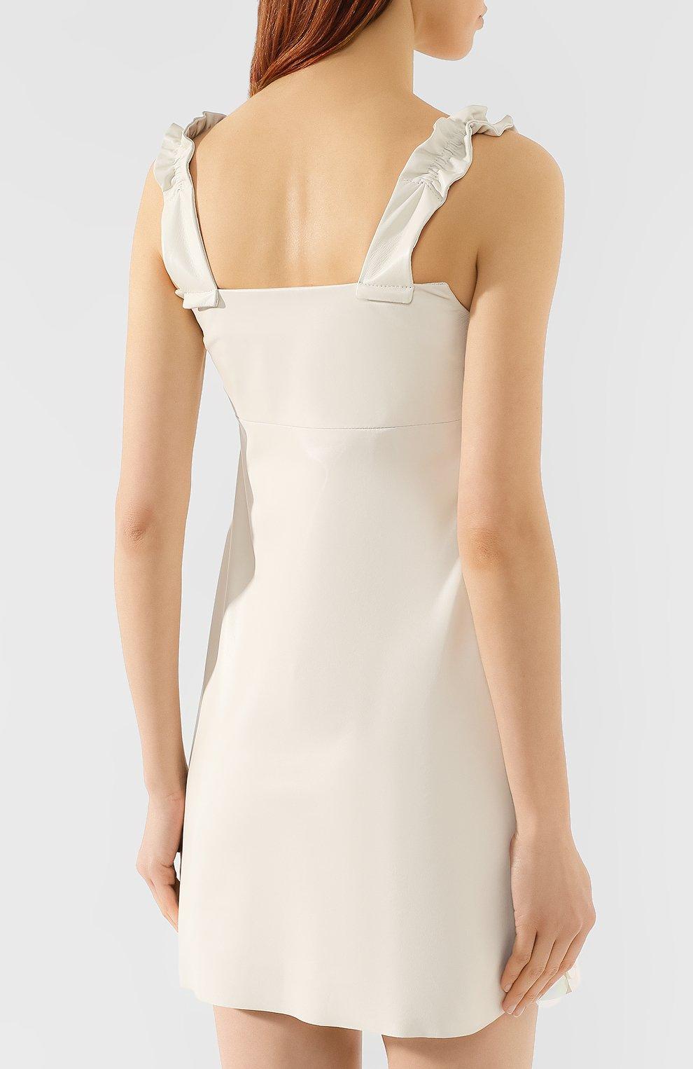 Кожаное платье DROMe бежевое | Фото №4