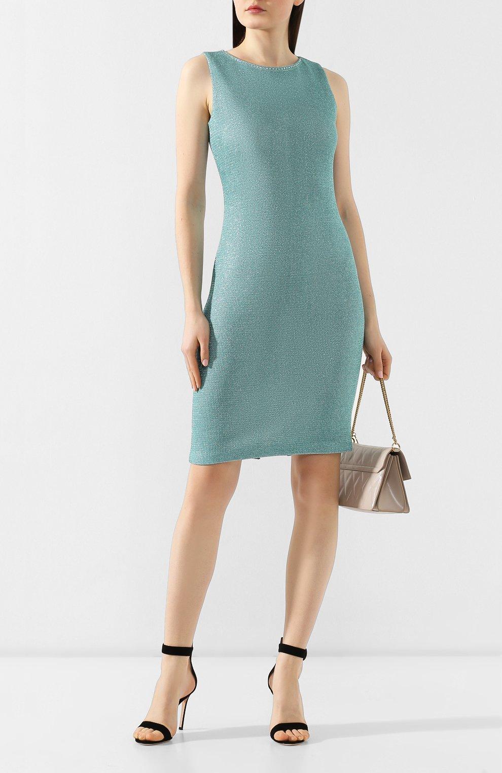 Платье из вискозы St. John бирюзовое | Фото №2