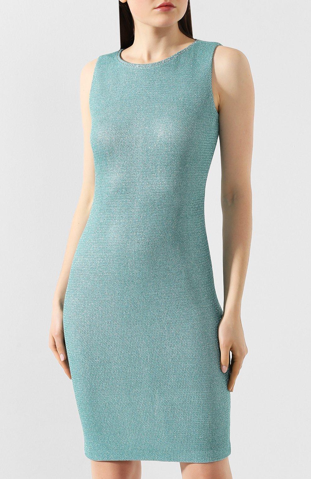 Платье из вискозы St. John бирюзовое | Фото №3