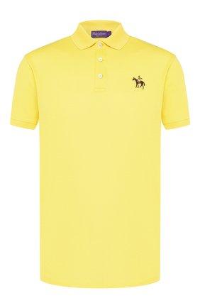 Мужское хлопковое поло RALPH LAUREN желтого цвета, арт. 790508036 | Фото 1