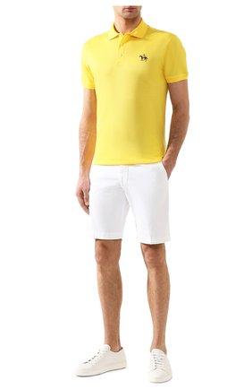 Мужское хлопковое поло RALPH LAUREN желтого цвета, арт. 790508036 | Фото 2
