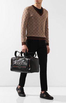Кожаная дорожная сумка Gucci Print   Фото №2
