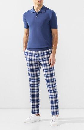 Мужской хлопковые брюки ANDREA CAMPAGNA синего цвета, арт. ZIP/1 WHITE/SB1520   Фото 2